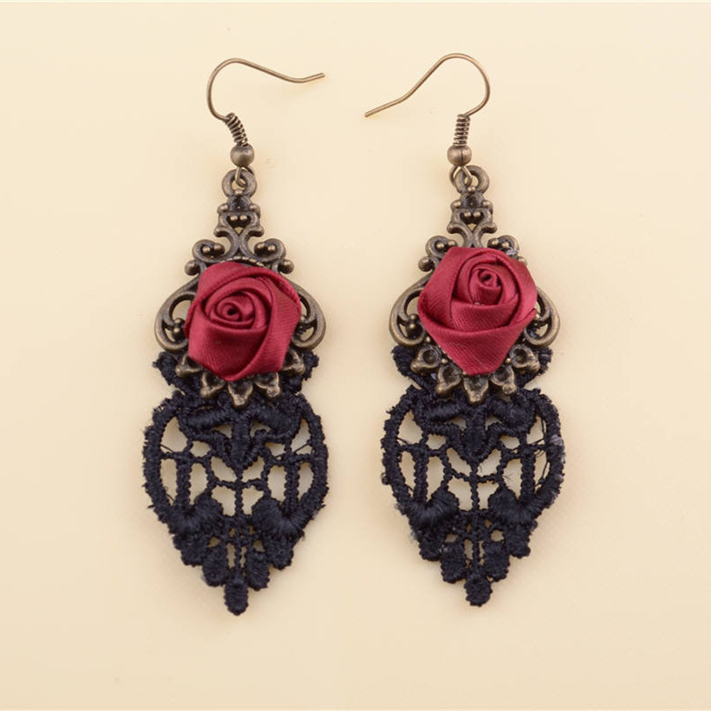 2015 New Fashion Gothic Handmade Drop Earrings With Rose Flower Sexy Black Lace Earrings For Christmas Party(China (Mainland))