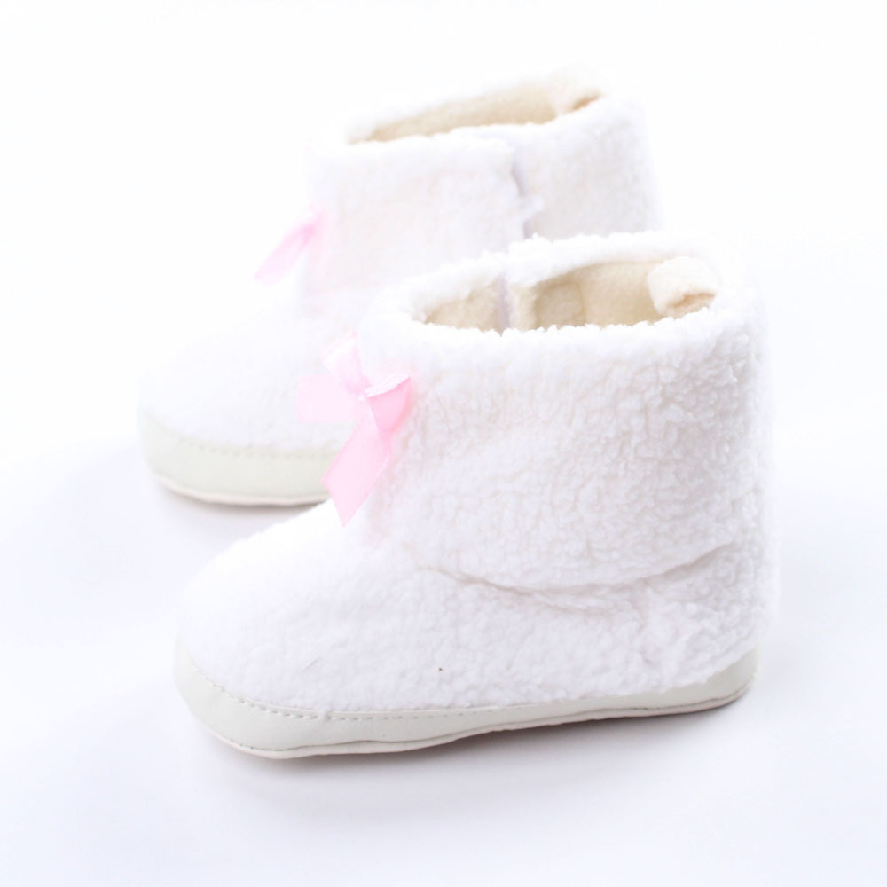 Newborn Baby Snow Boots Warm Cotton Baby Girls Baby Shoes Toddler Shoes Pure White Bow Plastic Bottom WMC095(China (Mainland))