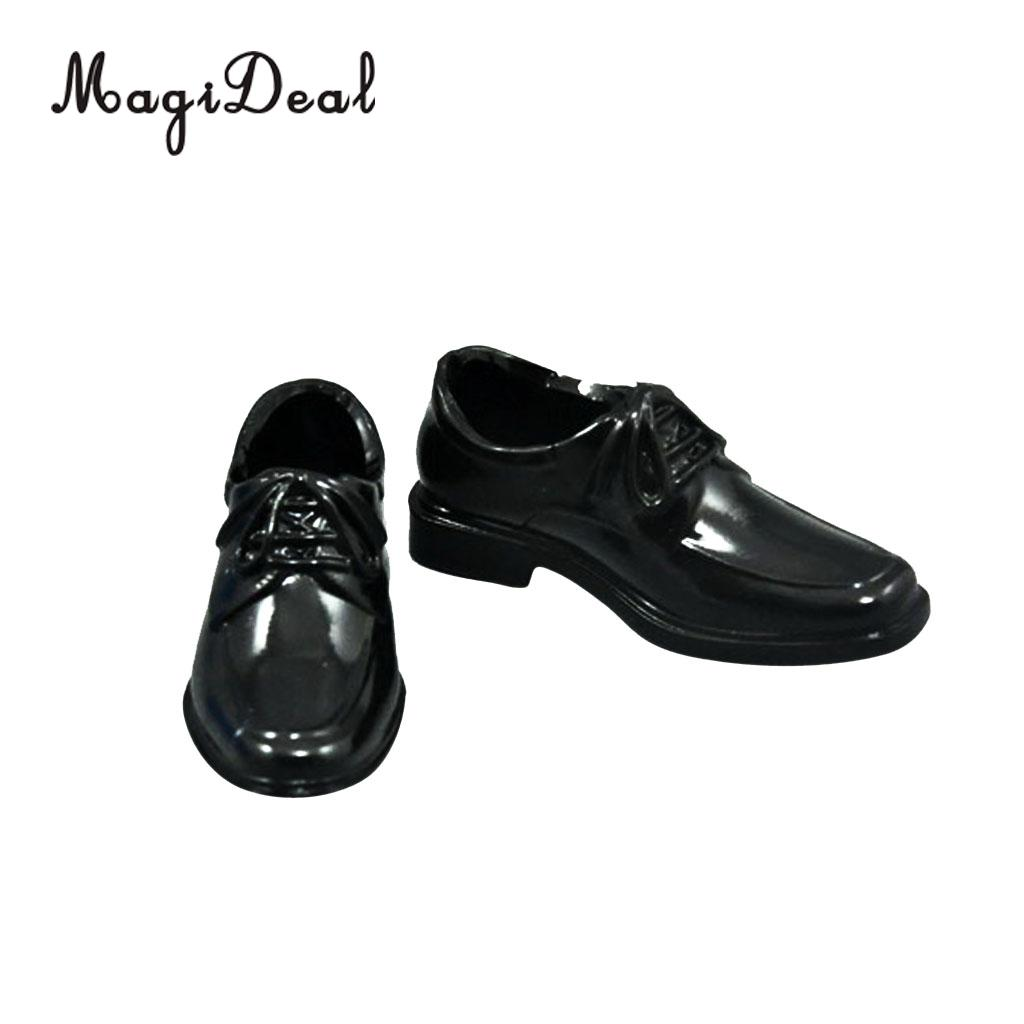 1Pair Black 1/6 Lace Up High Top Dress Shoes for 12 Inch Male Action Figure Body Dolls Daily Wear Acc 5cm