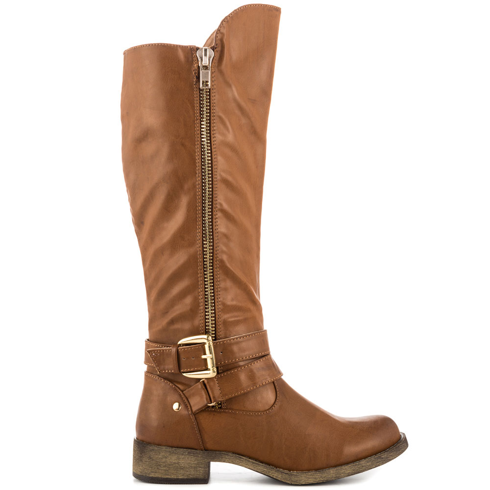 Brown Flat Heel Boots For Sale Round Toe Womens Shoes botas mujer Knee High Boots For Women Made-to-order Handmade Shoes Women