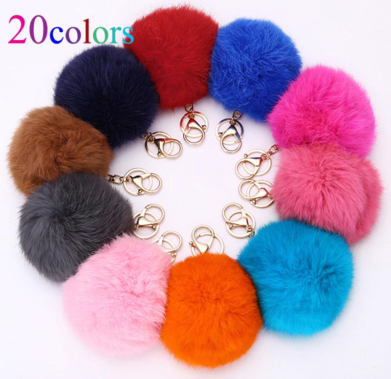 20Colors Trinket 10cm Fur Ball Keyrings Key Chain Highly Genuine Rabbit Fur Ball Keychain Women Fur Pom Pom Keychain Key Chain(China (Mainland))