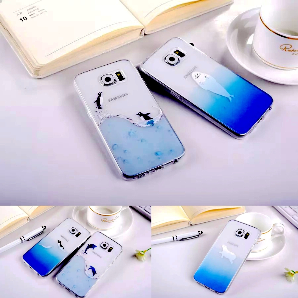 2015 The Newest Japan Cartoon Marine Animal Seals Penguins Polar Bear Dolphins Design Clear Tpu Case For Sumsung Galaxy S6 G9200(China (Mainland))