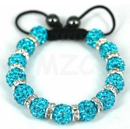 Fasion!Free Shipping! 13 Bead 10mm micro pave CZ Disco Ball Beads BWS Spacer Shamballa Crystal Bracelet. new design men jewelry!