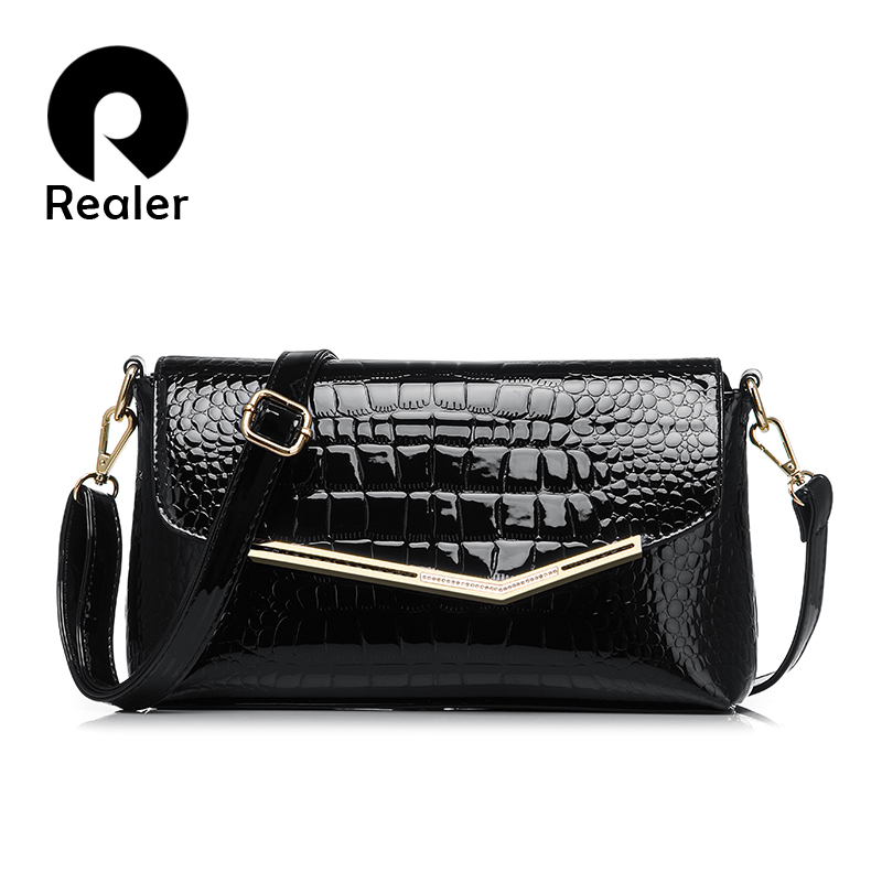 Realer brand women messenger bags crocodile pattern patent leather handbag female small shoulder bags envelope clutch(China (Mainland))