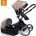 Babysing 2 in 1 Luxury Baby Stroller with Separate Carrycot Black Frame 360 Degree Rotation Baby