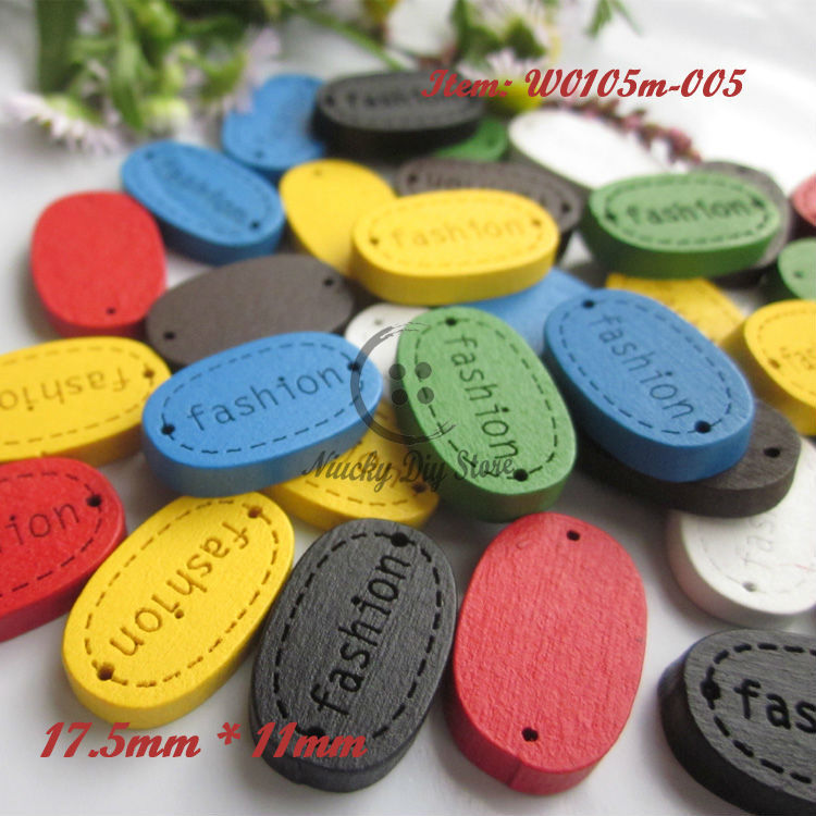 "144pcs 17.5mm*11mm Mixed color wooden "" fashion "" signs diy craft materials wood sign for diy accessories wholesale(China (Mainland))"