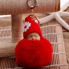 2018 Pequena Flor Bonito Do Bebê Boneca Falso Fur Fluffy Bola Anéis Chave Do Carro Pingente de Chave Cadeia Saco Dos Desenhos Animados Ornamentos presentes Keychain(China)