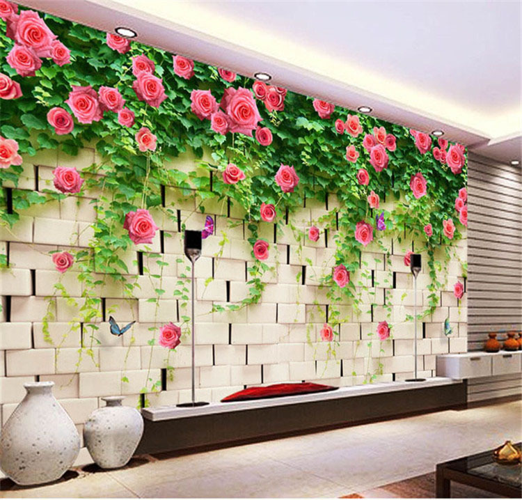 Modern 3d view briar rose and brick photo wallpaper wall for Big wallpaper for wall