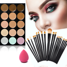 Buy New Arrival 15 Colors Face Cream Concealer Palette+20pcs maquiagem Brush+Powder Puff Wemen's Make Cosmetics Set for $8.85 in AliExpress store