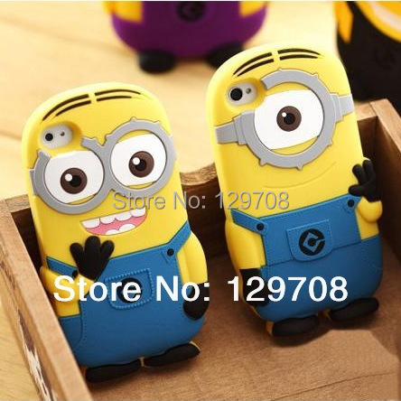 For Iphone4 4G 4S 5 5S 5C Soft Rubber Silicone 3D Cute Cartoon Despicable Me Minion Back Phone Cover Cases 100pcs/lot()