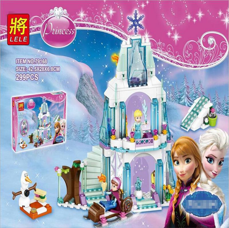 New arrival Elsa's Sparkling Ice Castle Anna Olaf Princess Set Building Blocks Set Model Bricks Toys L41062 Girls Toys P009(China (Mainland))