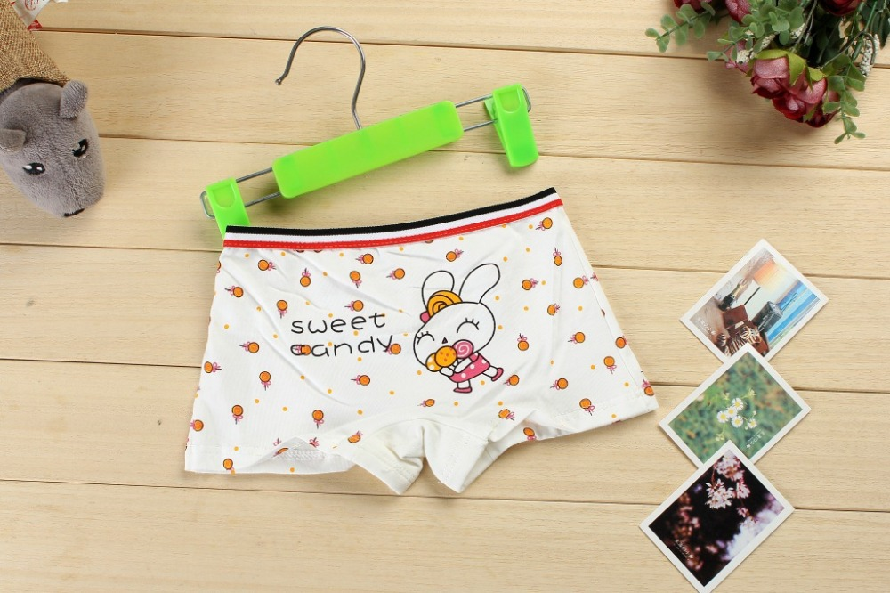 2015 New rabit print kids cotton boxer short spandex girl panties stretched cotton kids underwear lingerie intimate wholesale(China (Mainland))