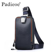 PADIEOE Men leather chest crossbody bag Casual men messenger bag high quality chest waist pack genuine leather messenger bag men(China (Mainland))