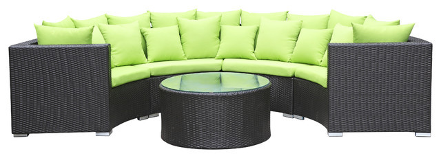 2015 Hot Selling Outdoor Rattan Furniture Wicker Patio Half Round Sofa Set(China (Mainland))