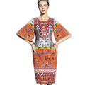 Print Patchwork Dress 2016 Summer Luxury Fashion New Daily Half Flare Sleeve High end Beautiful New