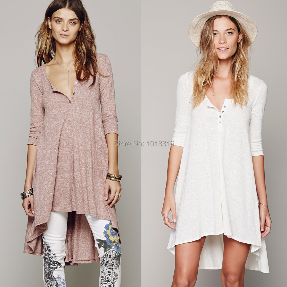 Free Shipping Women Loose Asymmetric long t shirt Dress Knitwear Cotton fabric Boho People Summer Style High Low Dress oversized(China (Mainland))