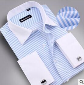 2014 spring autumn Mens patchwork formal dress long-sleeve shirt cotton slightly slim fit dress fashion men's french cuff shirt(China (Mainland))