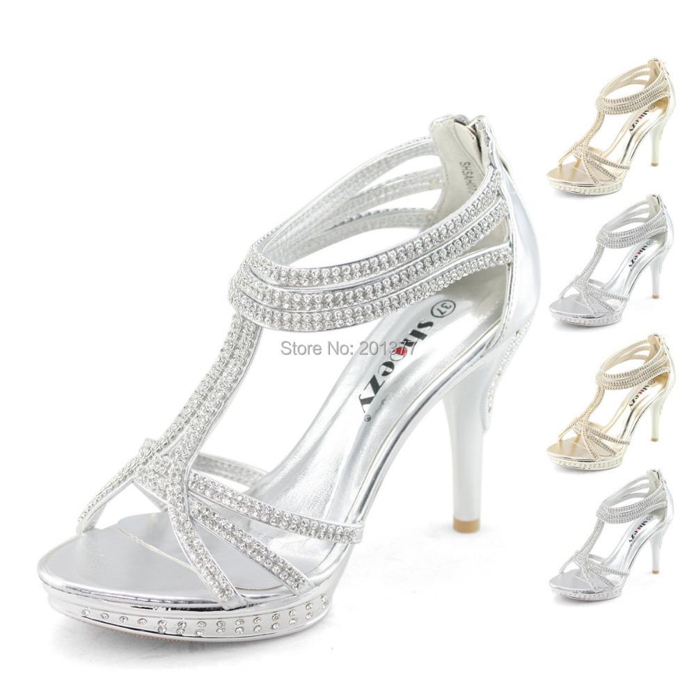 shoezy wedding shoes womens silver gold metallic rhinestone ankle straps high heels platform. Black Bedroom Furniture Sets. Home Design Ideas