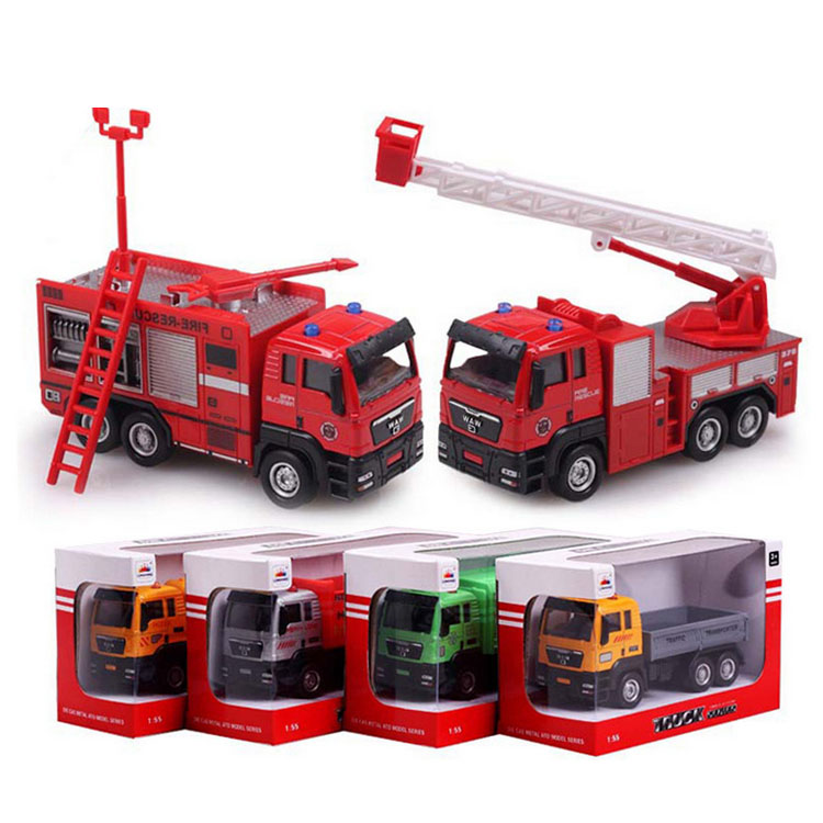 HOT 1:55 Alloy Car Models Construction Vehicles Toy Fire Truck / Rubbish Truck / Dump Truck Betst Christmas/Birthday Gift(China (Mainland))