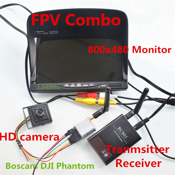 RC FPV Combo 5.8Ghz FPV System with 5.8G 200mw AV Transmitter Receiver HD Monitor CCTV Camera For DJI Phantom SJ4000(China (Mainland))