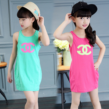 Buy Girls Sleeveless Dresses Kids Clothing Children Vests Sleeveless T-shirts Girls Beach Dresses 2016 Baby Clothes 4 6 8 10 12Year for $8.09 in AliExpress store