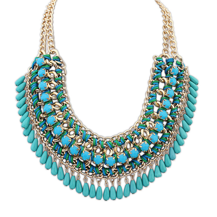 2015 Retro Bohemian Vintage Necklaces Acrylic Romantic Maxi Collier Collar Choker Statement Necklaces Fashion for Women(China (Mainland))