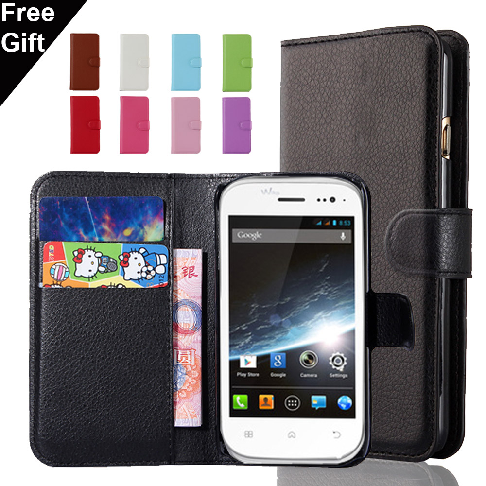 Slim High Quality Lichee Pattern wallet PU Leather Case For WIKO Cink Slim Cover Shell With Credit Card Holder 9 Color(China (Mainland))