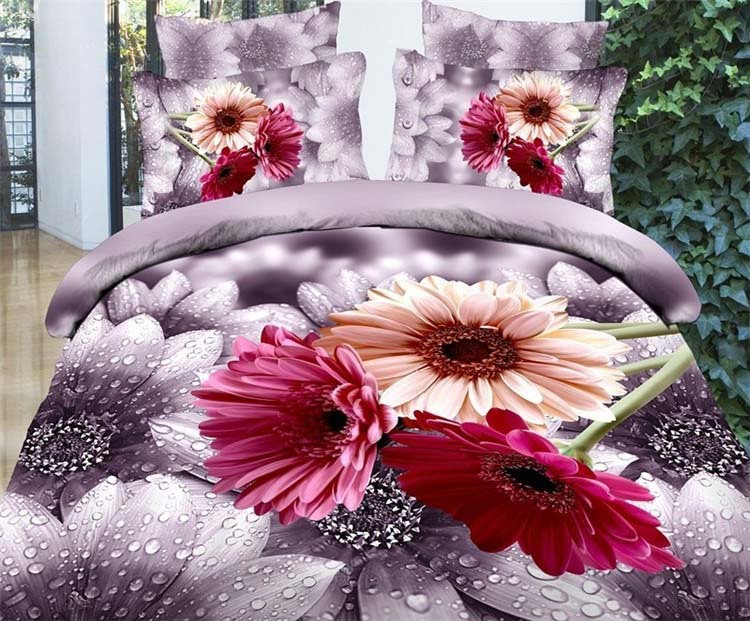 Rural fresh dew chrysanthemum flowers 3D bedding set reactive printed princess bedroom set comforter/duvet/bedclothes cover2289(China (Mainland))