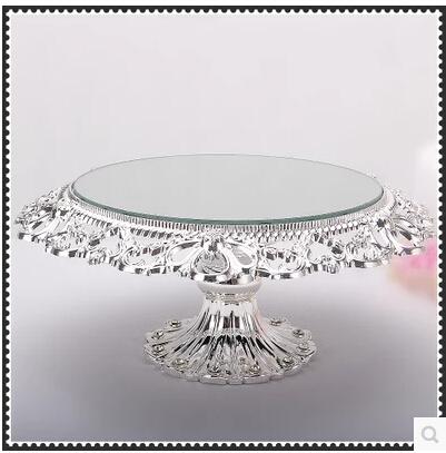Diameter 20cm glass mirror Hollow tray wedding serving trays decoration tray metal decorative bowls(China (Mainland))