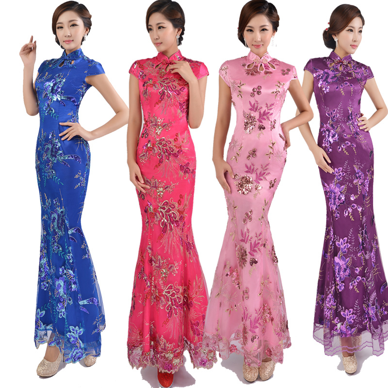 2015 High Quality Bridal Wedding Sexy Cheongsam Formal Party Slim Mermaid Dress Embroidery Lace Qipao Elegant Voile Evening Gown