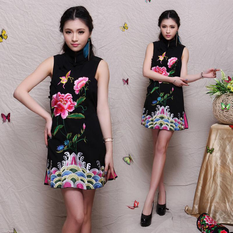 Bamboo jacquard cotton embroidery flower cheongsam dress national trend clothing women's plus size plus size one-piece dress(China (Mainland))