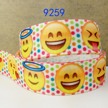 wholesale ribbon 50 yard per size Emoji printed ribbon 9259