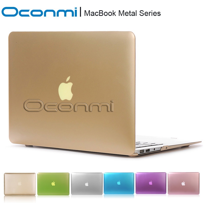 Metal Gold silver funda hard case for font b Apple b font Macbook Air Pro Retina