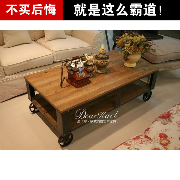Retro Industrial Loft American Country Wrought Iron Wood Coffee Table Coffee Table Seating