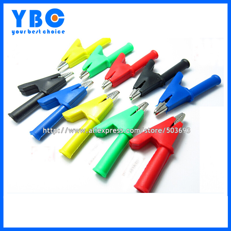 20pcs/lot 30A Alligator Clip Test Clip Red/Black/Yellow/Blue/Green Color with 4mm Jack Opening 10mm<br><br>Aliexpress