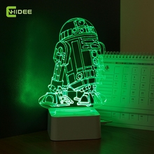 CNHIDEE 3D Visual Led Night Lights for Kids Robot R2 Touch Table Lampara as Besides Lampe for Star war Fans(China (Mainland))