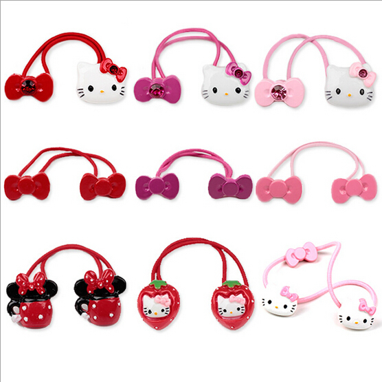 New Arrival styling tool hello kitty bow Elastic Hair Bands accessories make you Beautiful used by women young girl and children(China (Mainland))