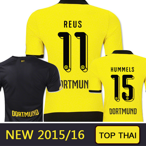 Top Thai REUS Germany FC Borussia Dortmund soccer jersey 2015 2016 Gundogan Borussia Dortmund jersey 15 16 BVB football shirts(China (Mainland))