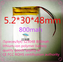( 5 pieces / lot ) 523048 800 мАч литий-ионный полимер аккумулятор товары CE FCC ROHS центра сертификации