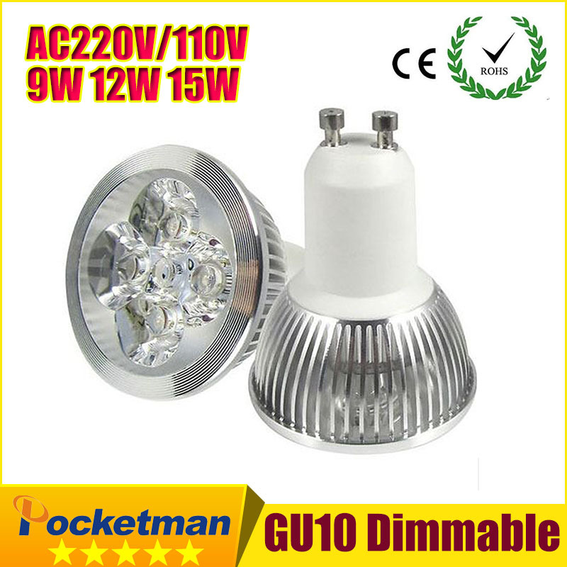 Bright Light dimmable 9w 12W 15w GU10 LED Bulbs Spotlight 110V 220V gu10 led Lamp Warm/Cool White LED SPOT Light ZK90(China (Mainland))