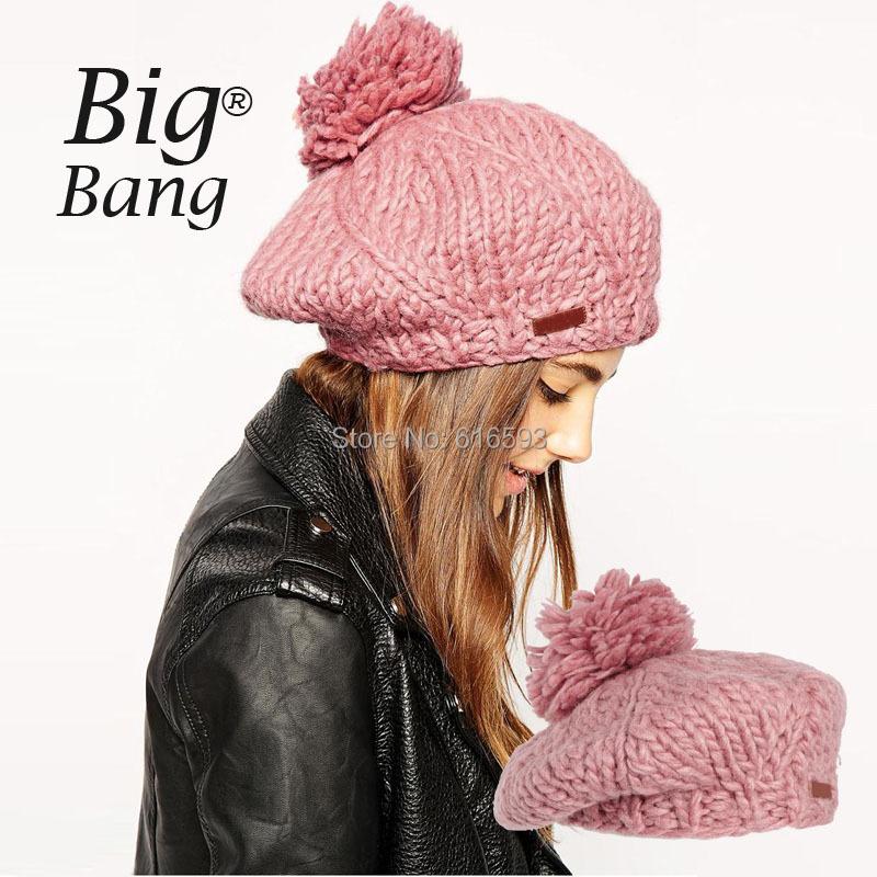2014 Oge Ball Knitted Winter Hats British Style Fashion Women Hat Knitted Beret Hot Sale Cute Unisex Hats Pink Cheap M14112820(China (Mainland))