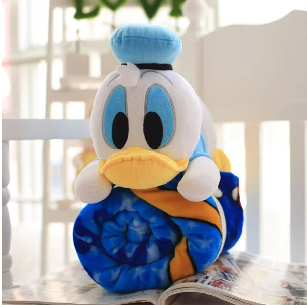 Super cute soft plush cartoon anime Donald Duck toy doll pillow with a blue air condition blanket, creative birthday gift, 1pc(China (Mainland))