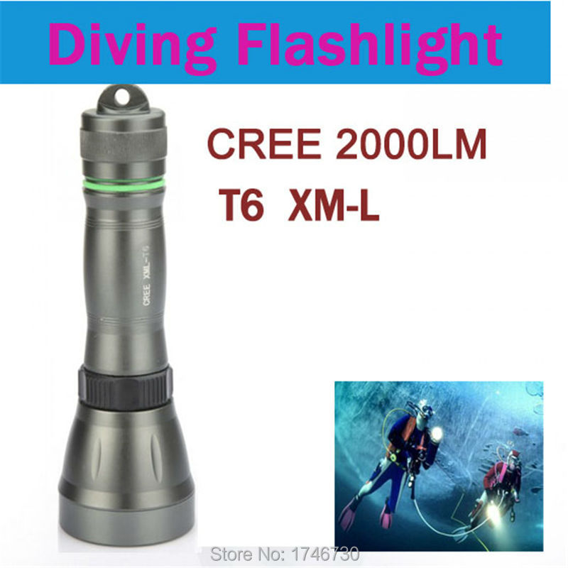 CREE XML-T6 LED Diving flashlight 2000 Lumens waterproof torch light use 3AAA/18650/26650 underwater lantern for diving camping