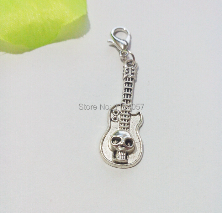 80p Tibetan Silver Plated Skull Guitar s Charms Lobster Claw Clasp Pendants for Jewelry Making DIY Handmade 45x11mm(China (Mainland))