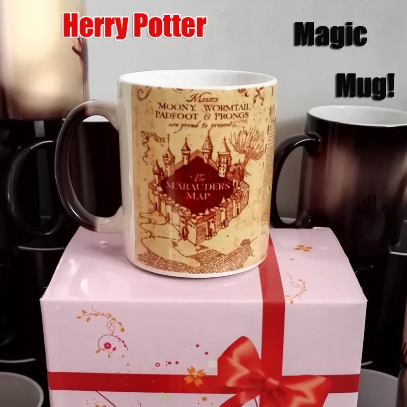 Harry Potter Marauder Map Color Changing Magic black heat sensitive Coffee Mug Tea Cup gift Free Shipping(China (Mainland))