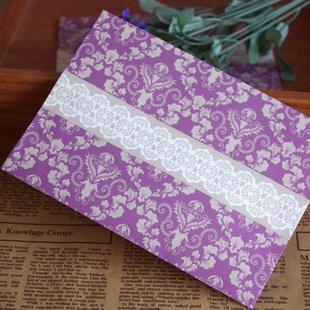 Free shipping 1lot=20pcs Original Envelope Purple Vintage Pattern Envelope Lace Paragraph XF887(China (Mainland))