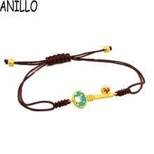 ANILLO Brand Pulseira Femininas 18 K Gold Plated Key Pattern Bracelets Women Jewelry Braiding Macrame Stainless Steel Bangles(China (Mainland))