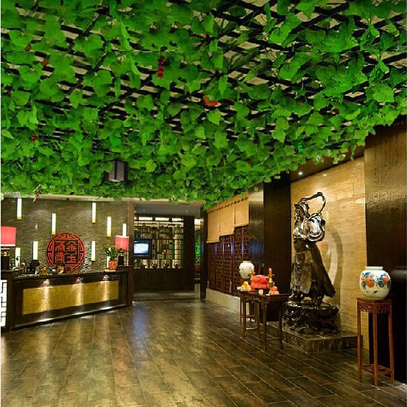 Artificial Plants Green Grape Vine Simulation Plant Silk Cloth Flowers For Decoration 2.2m Length Plant Vines Leaves(China (Mainland))