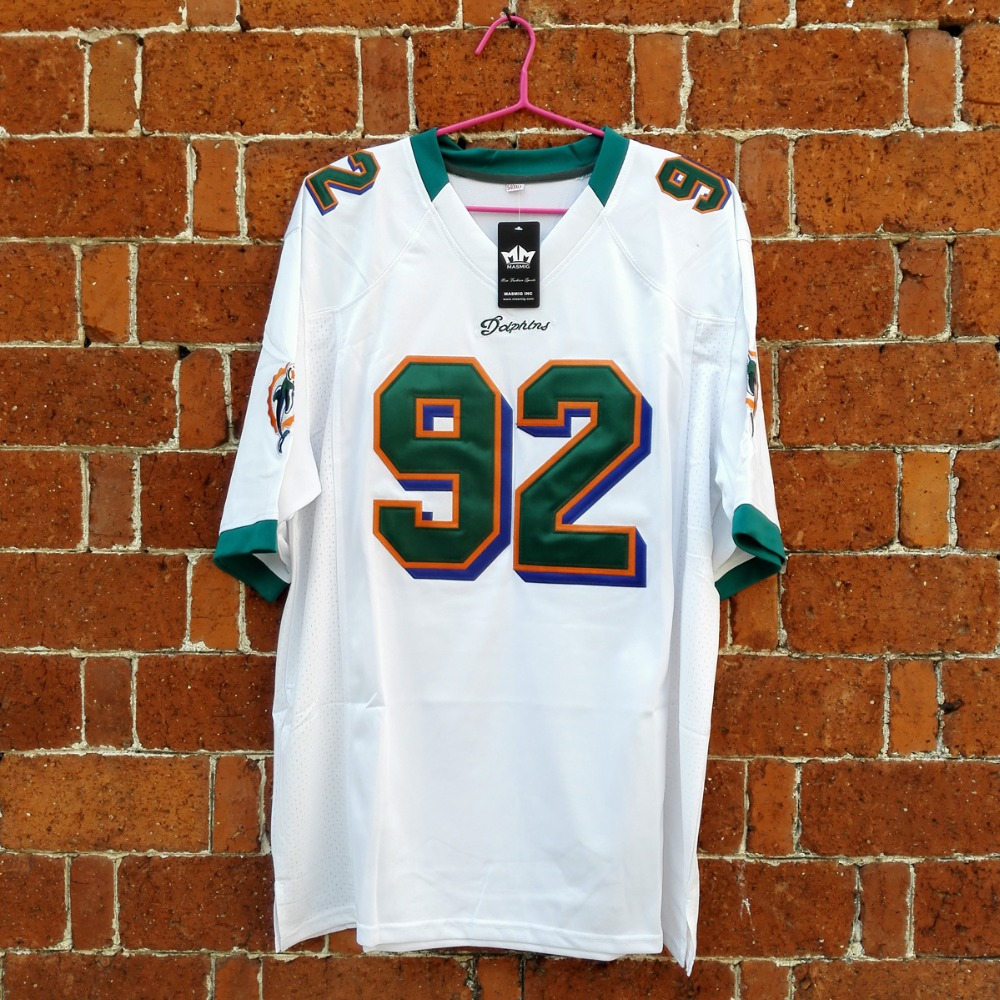 MASMIG Dwayne The Rock Johnson Spencer Strasmore Ballers Miami Football Jersey White M-3XL(China (Mainland))