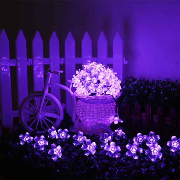New 4 sets/lot Solar Fairy String Lights 21ft 50 LED Purple Blossom Decorative Gardens, Lawn, Christmas Trees, Weddings, Parties(China (Mainland))